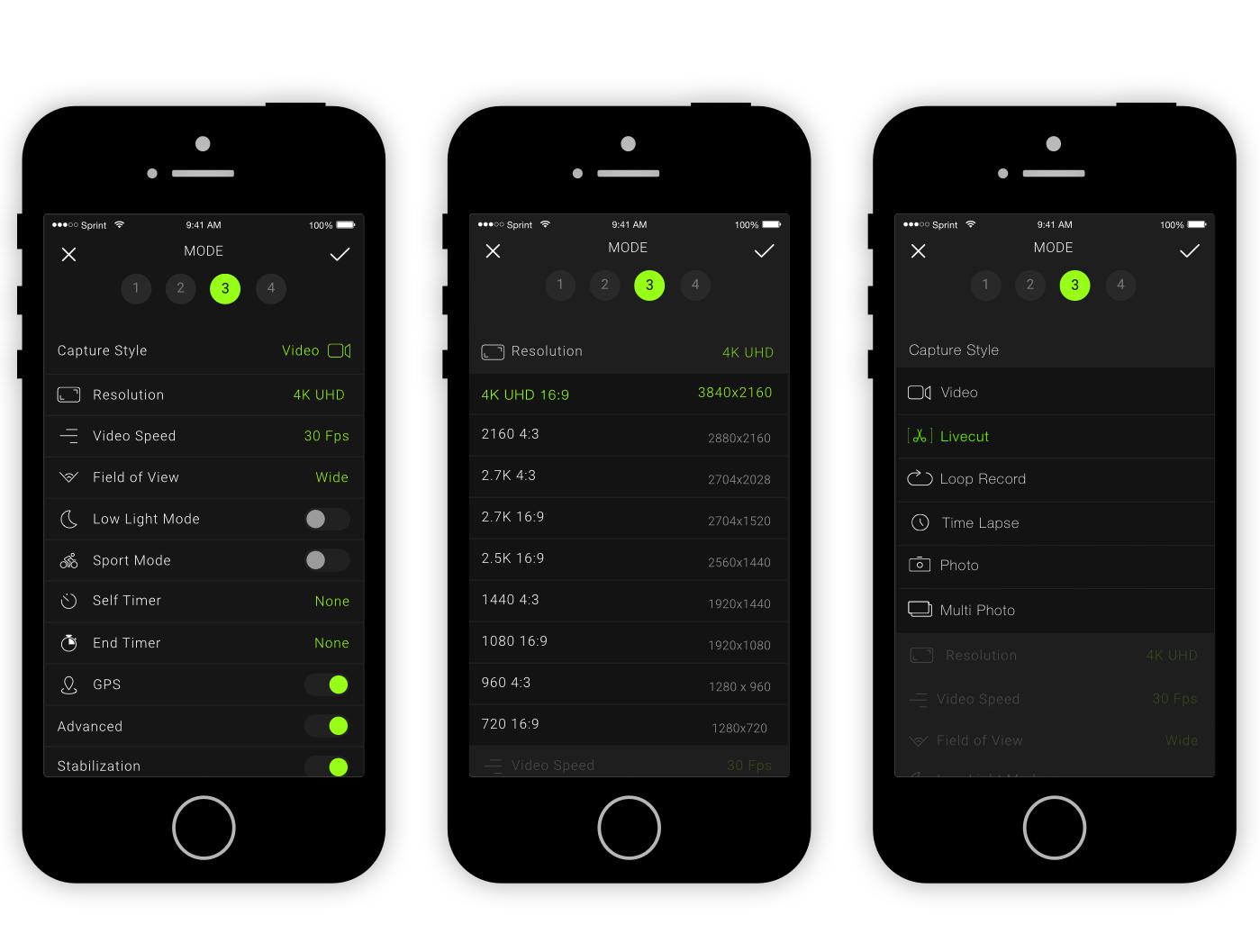 OCLU app shooting modes settings
